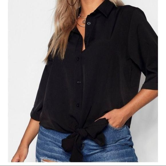 Boohoo Plus Utility Tie Front Relaxed Black Top